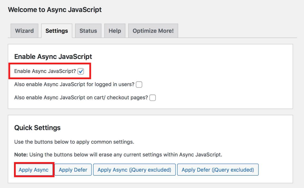 Async JavaScriptの設定