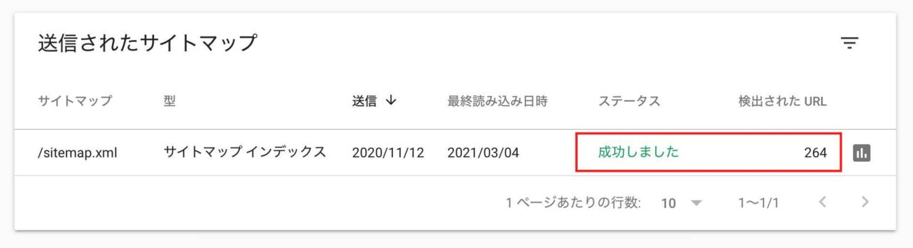 Search Consoleのサイトマップ送信